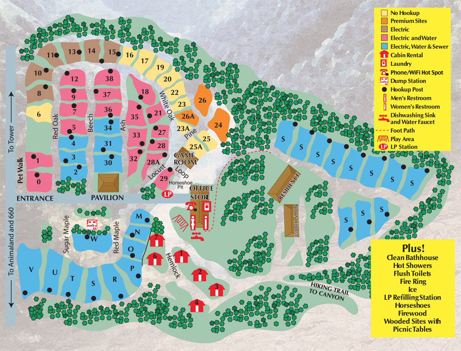 Camping Sites Canyon Country Campground - Grand canyon pa map