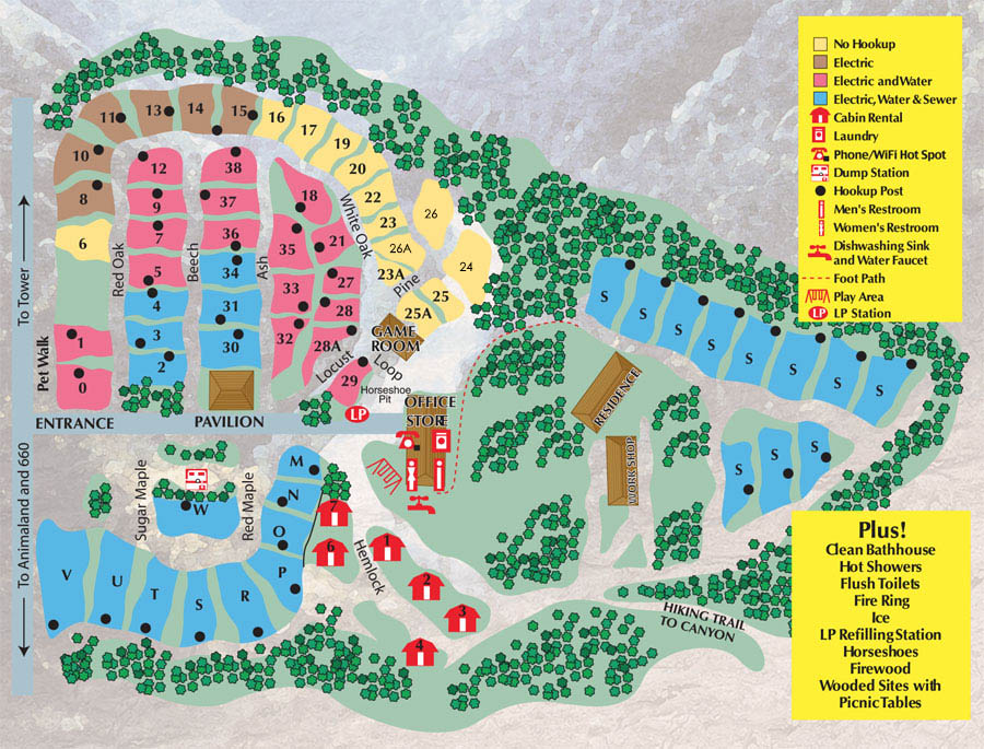 2018 Canyon Country Campground Sitemap