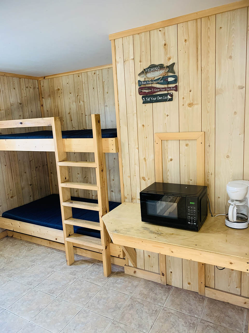 bunk bed and kitchenette